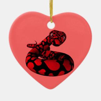 De rode Slang van de Liefde Keramisch Hart Ornament