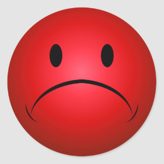 De rode Sticker van het Gezicht Frownie