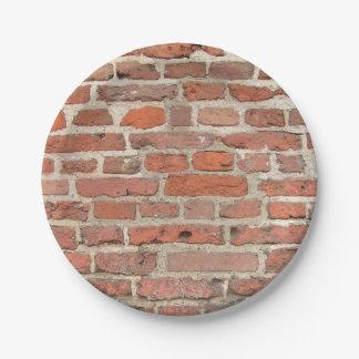 De rode Structuur van de Bakstenen muur Papieren Bordjes