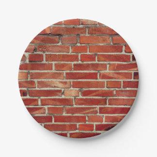 De rode Textuur van de Bakstenen muur Papieren Bordjes