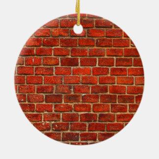 De rode Textuur van de Bakstenen muur Rond Keramisch Ornament