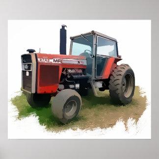 De Rode Tractor van Ferguson van Massey op het Geb Poster