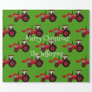 De rode Tractoren van het Boerderij op Groene Inpakpapier