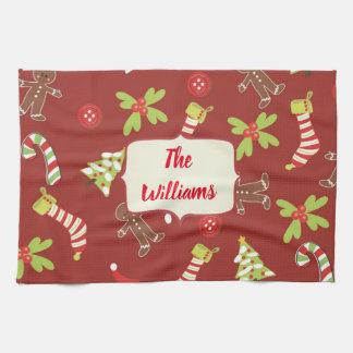 De rode Vakantie van de Peperkoek van Kerstmis Theedoek