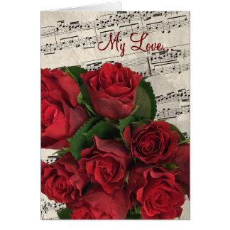 De rode Valentijnsdag van de Muziek van Rozen Kaart