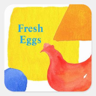 De rode Verse Eieren van de Kip Vierkante Sticker