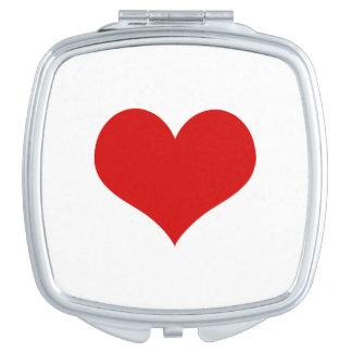De rode Vierkante Compacte Spiegel van het Hart Makeup Spiegeltjes