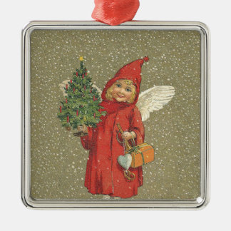 De rode Vintage Boom van de Engel van Kerstmis Zilverkleurig Vierkant Ornament