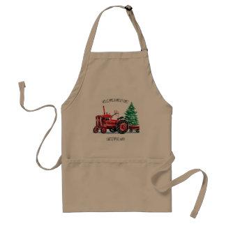 De rode Vintage Chef-kok van de Kerstboom van de Standaard Schort