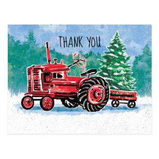 De rode Vintage Kerstboom van de Tractor bewaart Briefkaart
