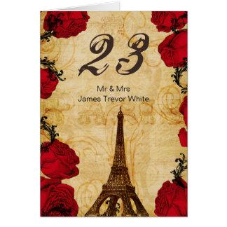 de rode vintage van de torenParijs van Eiffel Wenskaarten