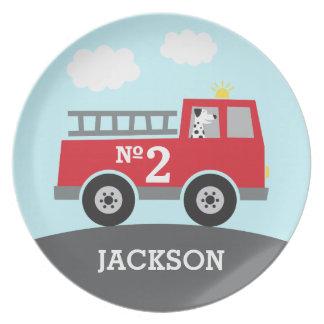 De rode Vrachtwagen van de Brand met Dalmatian Melamine+bord