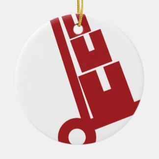 De rode Vrachtwagen van de Hand Dolly Verschepende Rond Keramisch Ornament