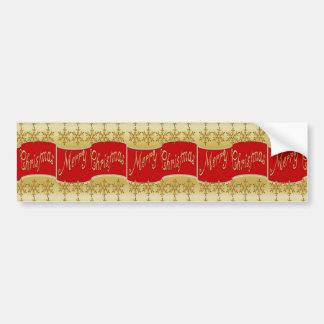 De rode Vrolijke Banner van Kerstmis Bumpersticker