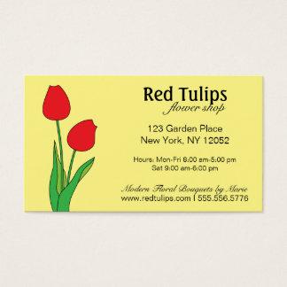 De rode Winkel van de Bloem van Tulpen Visitekaartjes