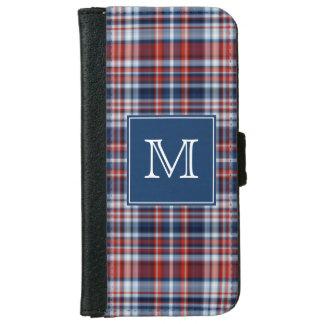 De Rode Witte en Blauwe Plaid van het monogram iPhone 6 Portemonneehoesje
