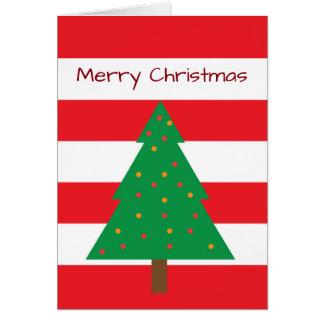 De rode & Witte Gestreepte Kaart van de Kerstboom