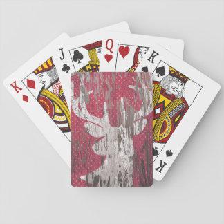 de rode witte speelkaarten van de herten Rustieke