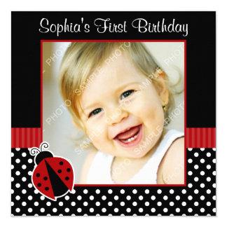 De rode Zwarte Foto van de Verjaardag van de Stip 13,3x13,3 Vierkante Uitnodiging Kaart