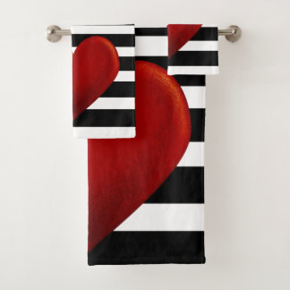 De rode Zwarte Witte Strepen van het Hart Bad Handdoek
