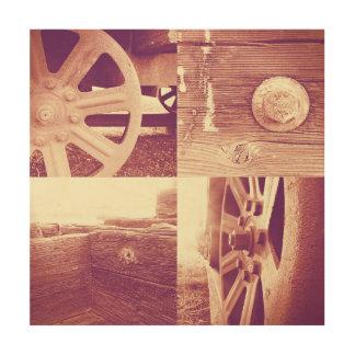 De roestige Collage van de Foto van de Trein Houten Canvas Prints