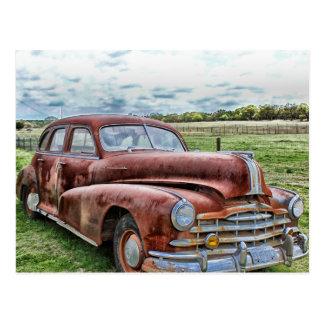 De roestige Oude Klassieke Vintage Auto van de Briefkaart