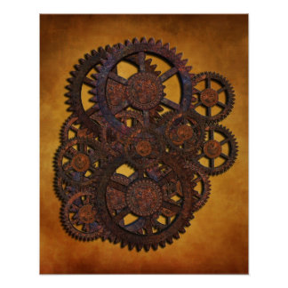 De Roestige Toestellen van Steampunk Poster