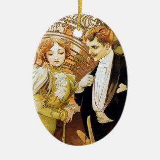 De Romantic Jugendstil van Alphonse Mucha Flirt Keramisch Ovaal Ornament