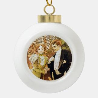 De Romantic Jugendstil van Alphonse Mucha Flirt Keramische Bal Ornament