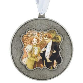 De Romantic Jugendstil van Alphonse Mucha Flirt Tin Geschulpt Ornament