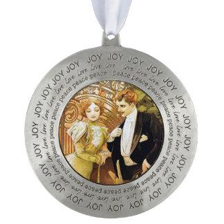 De Romantic Jugendstil van Alphonse Mucha Flirt Tin Rond Ornament