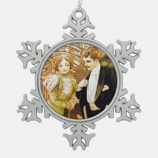 De Romantic Jugendstil van Alphonse Mucha Flirt Tin Sneeuwvlok Ornament