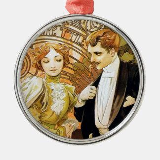 De Romantic Jugendstil van Alphonse Mucha Flirt Zilverkleurig Rond Ornament
