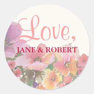 De romantische Bloemen van het Huwelijk van de Ronde Sticker
