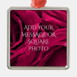 De romantische fuchsiakleurig roze bloemenfoto van zilverkleurig vierkant ornament