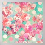 De romantische Roze Retro Bloemen Blauwgroen Stipp