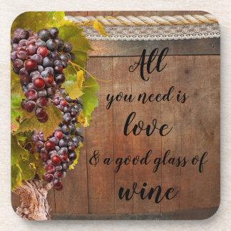De romantische Rustieke Onderzetters van de Wijn