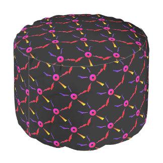De ronde roze zwarte paarse Douane van de Poef