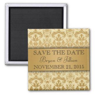 De room & het Gouden Vorstelijke Damast bloeien sp Vierkante Magneet