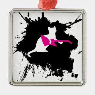 De Rots van huisdieren - Kat Zilverkleurig Vierkant Ornament