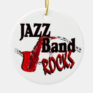 De Rotsen van de Band van de jazz met Foto Rond Keramisch Ornament