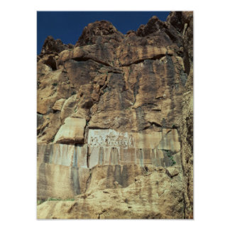 De rotshulp van Achaemenid van Koning Darius I Poster
