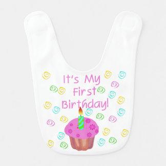 De roze 1st Slab van de Verjaardag Cupcake Slabbetje