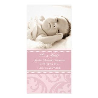 De roze Aankondiging van de Geboorte van het Baby  Foto Wenskaarten