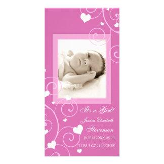 De roze Aankondiging van de Geboorte van het Baby  Persoonlijke Fotokaart