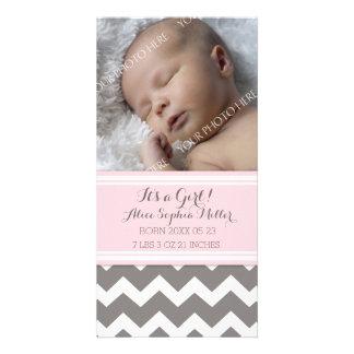 De roze Aankondiging van de Geboorte van het Baby Persoonlijke Fotokaarten