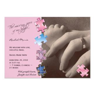 De roze Aankondiging van het Baby van de Foto van