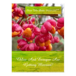 De roze As bloeit Huwelijk sparen de Datum Briefkaart