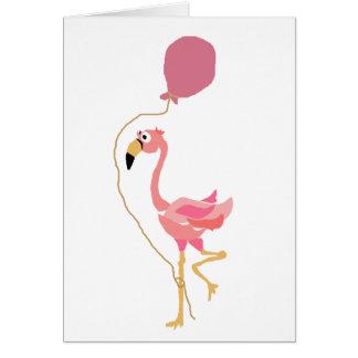 De roze Ballon van de Holding van de Flamingo Kaart
