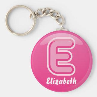 De Roze Bel van de Brief E van Keychain Sleutelhanger